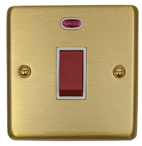 G&H CSB46W Standard Plate Satin Brushed Brass 45 Amp DP Cooker Switch & Neon Single Plate